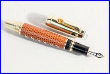 Montblanc Boheme Jewels Citrin Brown SHARK Leather Fountain Pen 18K Gold M Nib