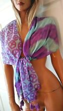 LARGE PEACE SYMBOL blue purple SCARF belt accessory coverup Free Shipping