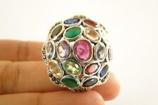 Multi-Stone Emerald Ruby Sapphire Topaz Marcasite Sterling Silver Ring Size 8