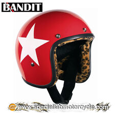 Casco Bandit Jet Star Red Leopard Cafè Racer