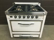 "Viking 36"" Tuscany Series TVDR3604BAW Antique White Dual Fuel Range"
