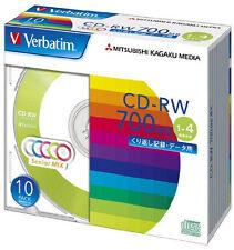10 Verbatim Blank CD-RW 700MB Color Mix x4 CDRW Data w/case SW80QM10V1