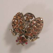 Vintage WEISS Antiqued Gold Tone Topaz Rhinestone Bug Pin