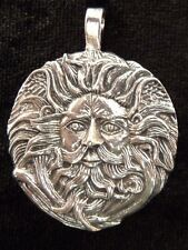 Circular Green Man Pewter Pendant on Leather Necklace.  Pagan