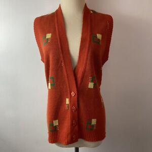 Vintage 70s Beeline Fashions Medium ? Geometric Print Orange Sweater Vest Orlon