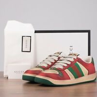 GUCCI 870$ Screener Sneakers In Beige & Red Distressed Vintage Leather