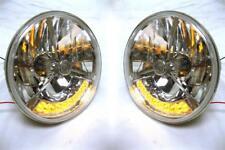 "Street Hot Rod 7"" Tri Bar Clear Dot H4 Headlights w/ Clear LED Turn Signals 12v"