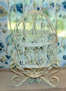 WHITE WIRE BIRD CAGE Candle Lantern PLANT HOLDER Very Pretty! LOT R