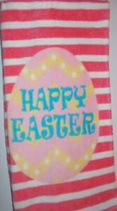 FULL UNCUT HAPPY EASTER PINK STRIPED Print Cotton Kitchen Towel