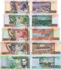 S Tome  Principe set 5 banknotes 5000 10000 20000 50000 100000 Dobra 2013 UNC