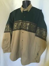 LONG SLEEVE Bronco WESTERN RODEO SHIRT XL Brown and Green