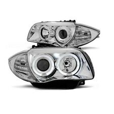 2 FEUX PHARE AVANT ANGEL EYES LED POUR BMW SERIE 1 E87 E88 ET E81 E82 chrome