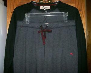 Tommy Bahama 2 Piece Lounge Sleepwear Pajama Set Gray Black Trim Men's sz Large