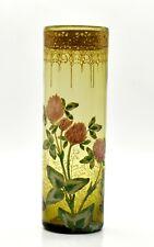Vase cylindrique verre émaillé décor floral glass vase Art nouveau