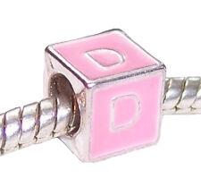 Letter D Pink Enamel Cube Alphabet Initial Gift Charm for European Bead Bracelet