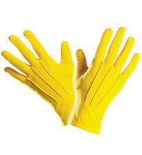 SHORT BRIGHT YELLOW GLOVES CLOWN OR ANY FANCY DRESS ACCESSORY UNISEX HALLOWEEN