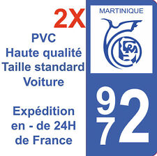 Sticker Autocollant immatriculation Département 972 Martinique Région Dom Tom X2