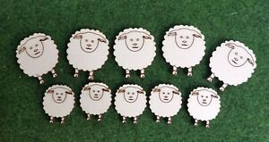 Wooden MDF Sheep Craft shapes x 10 Embellishments 30mm & 40mm