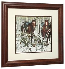 TWO INDIAN HORSES Print by Bev Doolittle Solid Hardwood Frame