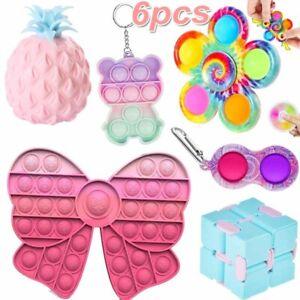 6Pack Fidget Toy Set Sensory Spinner Simple Dimple Bubble Stress Relief Kids AU