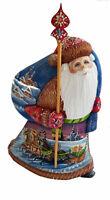 Bois sculpté Fait Main Le père Noel avec troïka -  Peint à la main Russie