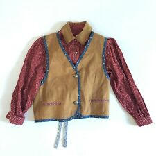 Vintage Hairston Roberson Ropa Shirt Vest Small Petite Stars Suede Western Boho