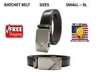 Men Automatic Ratchet Click Lock Silver Belt Buckle Genuine Leather Style VA02