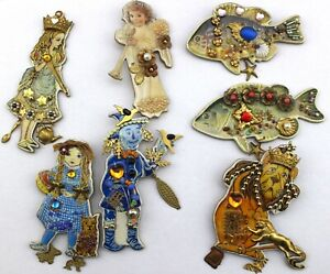 CREATIONS BY FRANCES Handcrafted USA Rochester NY Charm Jeweled Brooch Pin Lot