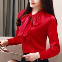 New Spring Women Bow Tie Long Sleeve Casual Career Office Work Shirt Blouse Tops