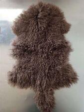 KHAKI 60x105CM REAL TIBETAN MONGOLIAN SHEEPSKIN CURLY  WOOL FUR HIDE PELT RUG