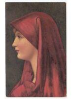 Henner - Fabiola Card Female With Veil Red Edition D'Art Raphael