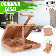 Large Wooden Artist's Painting Drawing Table Top Box Easel Storage Case Display