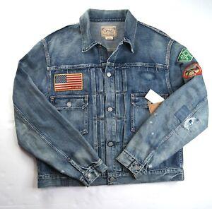 POLO RALPH LAUREN Men's Sportsman Patch Trucker Blue Denim Jacket NEW NWT