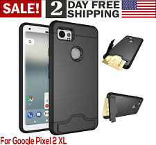 "Google Pixel 2 XL Case 6"" Heavy Duty Rugged Hybrid Armor Hard Wallet Cover Black"