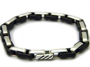 David Yurman 4mm Cable Chain Link Bracelet Black Titanium/Sterling Silver NWT