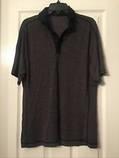Sz Large Lululemon Mens Large Dark Gray/Black Polo Silverescent Breathable Nice!