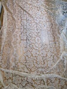 Vintage Lace Tablecloth 68x102 Rectangle Ivory wedding country farmhouse chic