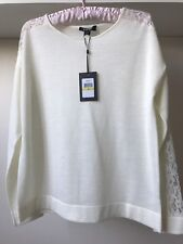 DKNY ladies off-white wool blend with lace details jumper sz M BNWT