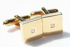 Men's Stylish 18K Gold Filled Princess Cut LAB Created Diamond Square Cufflinks.