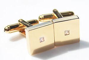 Men's Stylish 18K Gold Filled Princess Cut LAB Created Diamond Square Cufflinks.