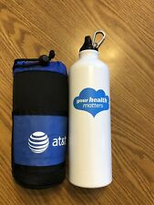 AT&T Cell Phone h2go Insulated Aluminum Water Bottle 24 oz. includes carabiner