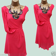 Karen Millen Grecian Silk Coral Beaded Necklace Drape Cocktail Dress 14 UK