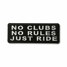 Embroidered No Clubs No Rules Just Ride Sew or Iron on Patch Biker Patch