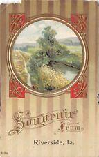 Riverside IA Gold Portal Souvenir Postcard~Stream & Field Greetings c1910 As is
