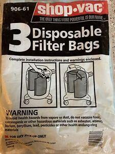 Shop Vac 90661 Disposable Filter Bags 3-Pack, Type E Fits 5-8 Gallon Units  *
