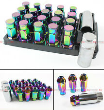 NEO CHROME R-STYLE CLOSE END EXTENDED WHEEL LUG NUTS+LOCK & KEY FOR  MITSUBISHI
