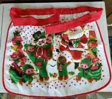 New listing Vintage Barth & Dreyfuss Christmas Royal Terry Half Apron Santa Claus Snowman