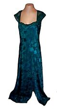 Night Gown, Victoria's Secret, vintage Green Satin Long Jacquard textured L