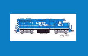 """GWWR (Gateway Eastern) GP38 #2000 11""""x17"""" Matted Print Andy Fletcher signed"""