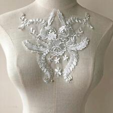 Apagado Blanco Encaje Motivo Bordado Flor Aplique Parche para Coser
